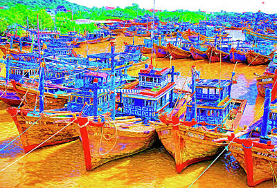 Mixed Media - Vietnamese Fishing Boats by Dennis Cox Photo Explorer