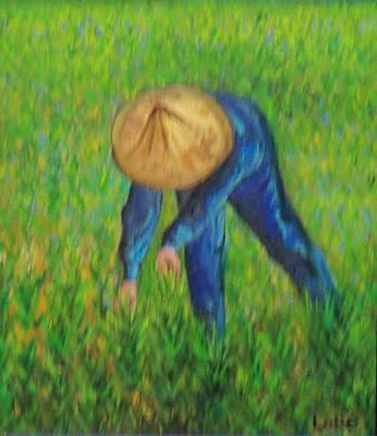 Vietnamese Rice Planter  Art Print by Lore Rossi