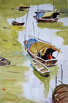 Painting - Vietnamese Sampans by Tom Simmons