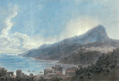Sun Behind Clouds Painting - Vietri And Raito by John Robert Cozens