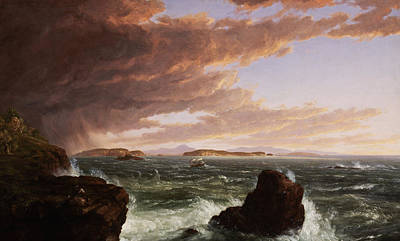 Crashing Wave Painting - View Across Frenchman's Bay From Mt. Desert Island After A Squall by Thomas Cole