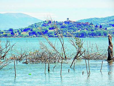 Photograph - View Across Lago Trasimeno From Sant Arcangelo Umbria by Dorothy Berry-Lound