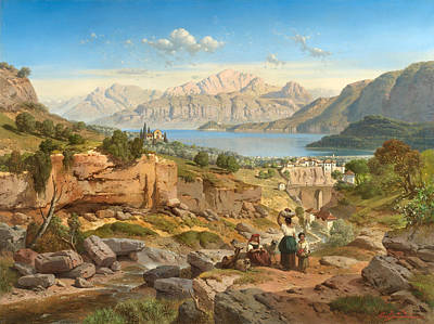 Bellagio Painting - View Across Lake Como To Bellagio And The Grigna Massif Um by Celestial Images