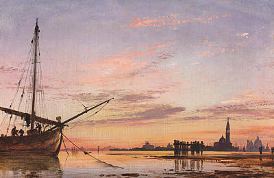 Sunset Painting - View Across The Lagoon, Venice, Sunset by Edward William Cooke