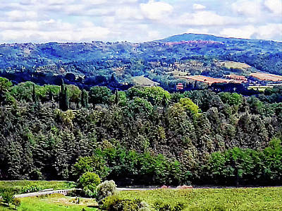 Tuscan Hills Digital Art - View Across The Valley From Cetona Tuscany by Dorothy Berry-Lound