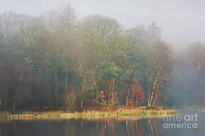 view across Yew Tree Tarn in the mist Art Print