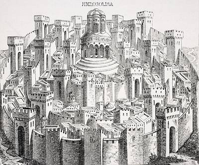 Medieval Temple Drawing - View And Plan Of Jerusalem. Facsimile by Vintage Design Pics