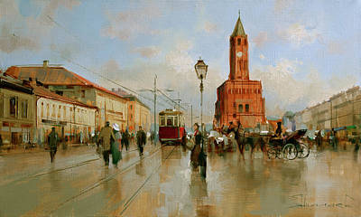Old Tram Painting - View At Sukharev Tower. From The Series Old Moscow. by Alexey Shalaev