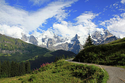 View At The Famous Mountains Eiger Moench And Jungfrau Switzerland Art Print