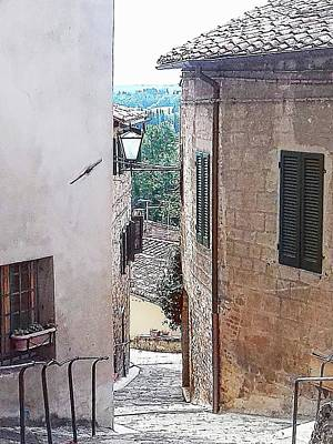 Tuscan Hills Digital Art - View Between Buildings Cetona Tuscany by Dorothy Berry-Lound