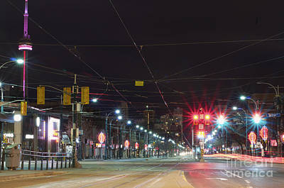 View Down Spadina Ave At Night. An Art Print by Will Burwell