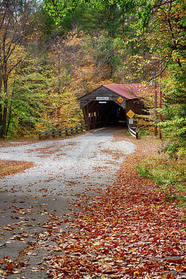 New England Fall Foliage Photograph - View Down To The Durgin Covered Bridge by Jeff Folger