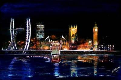 London Eye Painting - View Fom The Bridge by Andrew Roy Thackeray