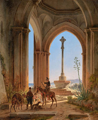 View From A Gothic Church Ruin With Locking Hunters On A Pilgrimage Cross And A Bay In Valencia Art Print