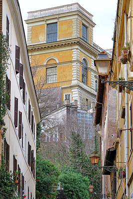 Photograph - View From A Stairway In Rome Italy by Richard Rosenshein