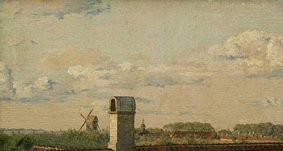 Painting - View From A Window In Toldbodvej Looking Towards The Citadel In Copenhagen by Christen Kobke