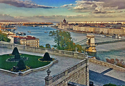 Digital Art - View From Castle Hill, Budapest, Hungary by Jim Pavelle