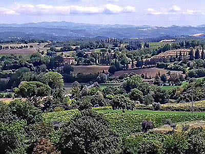 Tuscan Hills Digital Art - View From Cetona In Tuscany To Citta Della Pieve In Umbria by Dorothy Berry-Lound