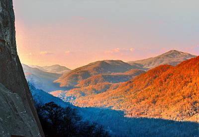 Mixed Media Royalty Free Images - View from Chimney Rock-North Carolina Royalty-Free Image by Steve Karol