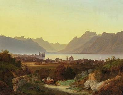 Lake Geneva Painting - View From Lake Geneva Vevey by MotionAge Designs