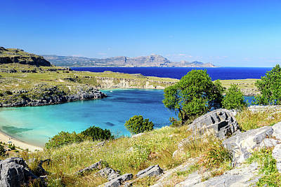 Photograph - View From Lindos, Rhodes, Greece by Global Light Photography - Nicole Leffer