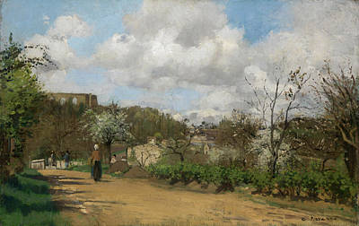 Cloudy Painting - View From Louveciennes by Camille Pissarro