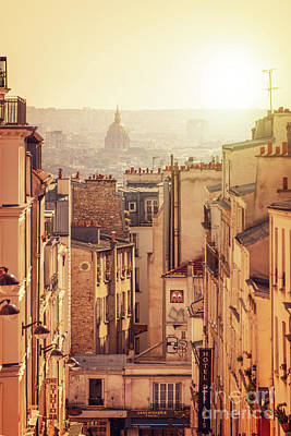Paris Skyline Royalty-Free and Rights-Managed Images - View from Montmartre - Vertical by Delphimages Photo Creations