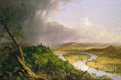 Ma. Mass Painting - View From Mount Holyoke, Northampton, Massachusetts, After A Thunderstorm The Oxbow, 1836 by Thomas Cole