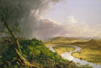 View From Mount Holyoke Northampton Massachusetts After A Thunderstorm. The Oxbow Art Print by Thomas Cole