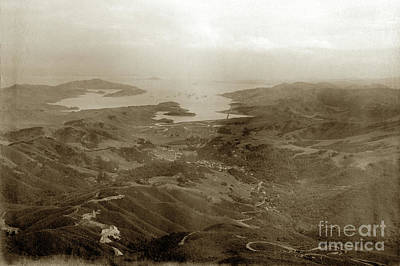 Photograph - View From Mt. Tamalpais Showing Scenic Railway R/r Track And Ric by California Views Mr Pat Hathaway Archives