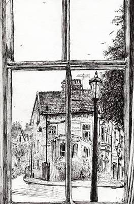 Lamppost Drawing - View From Old Hall Hotel by Vincent Alexander Booth