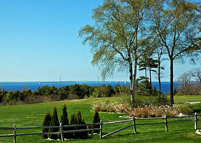 Photograph - View From Porch On Mackinac Island Of Bridge by LeeAnn McLaneGoetz McLaneGoetzStudioLLCcom