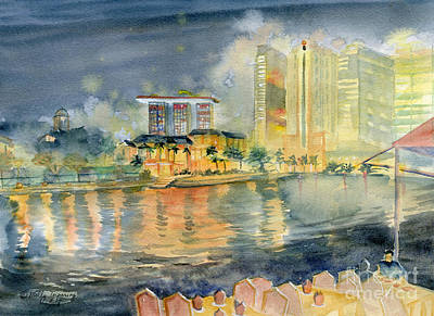 Painting - View From Quay Singapore by Melly Terpening