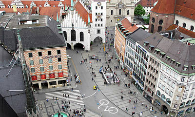 Painting - View From Ratskeller Tower In Munich by Loretta Luglio