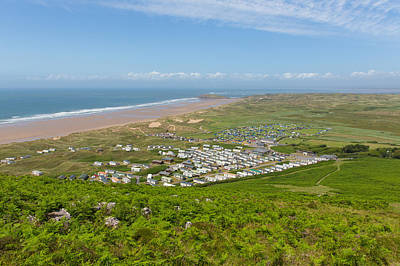 The Gower Photograph - View From Rhossili Down To Burry Holms And Hillend The Gower Peninsula Wales Uk In Summer by Michael Charles