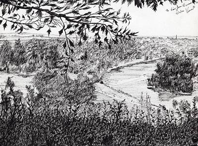 Pen And Ink Tree Drawing - View From Richmond Hill by Vincent Alexander Booth