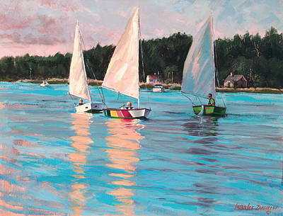 Sailboat Ocean Painting - View From Rich's Boat by Laura Lee Zanghetti