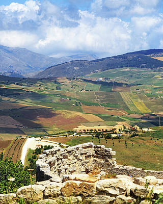 Photograph - View From Segesta Overlooking Rolling Hills In Valley by Susan Schmitz