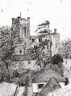 Pen And Ink Tree Drawing - View From St Catherines School Ventnor by Vincent Alexander Booth
