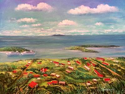 Painting - View From Saint Thomas In The Caribbean by Randy Burns