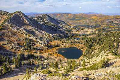 Photograph - View From Sunset Peak Looking Down On Lake Catherine, Lake Martha, Lake Mary, And Brighton by Spencer Baugh