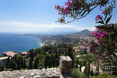 View From Teatro Greco In Taormina To The Cloud-shrouded Mount Etna Art Print by Wolfgang Steiner