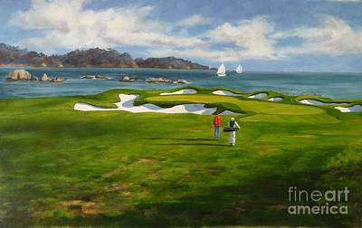 View From The 17th The 17th Hole At Pebble Beach Golf Links Original by Shelley Cost
