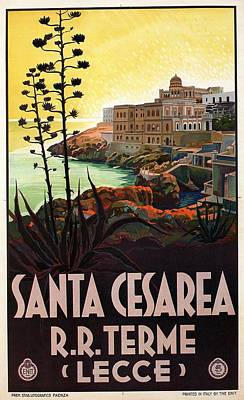 Ethereal - View from the bay of Santa Cesarea Terme - Apulia, Italy - Vintage Travel Poster by Studio Grafiikka