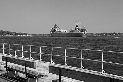 Photograph - View From The Boardwalk Bw by Mary Bedy