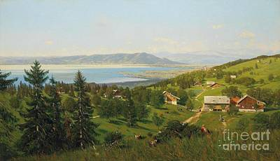 Rhodes Painting - View From The Canton Appenzell Outer Rhodes Over Lake Constance by Celestial Images