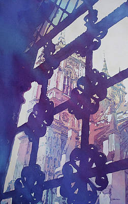 Westminster Abbey Wall Art - Painting - View From The Cloister by Jenny Armitage
