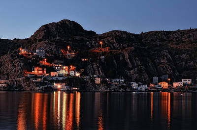 Photograph - View From The Harbor St Johns Newfoundland Canada At Dusk by Steve Hurt