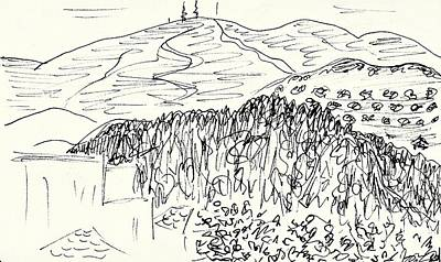 Drawing - View From The Hotel Room In Lanjaron by Chani Demuijlder