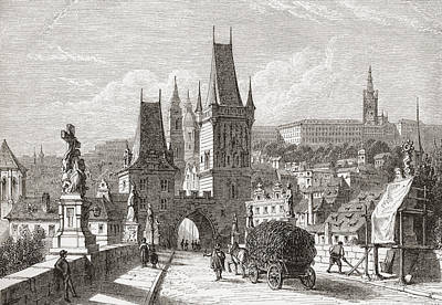 Czech Republic Drawing - View From The Karlsbr by Vintage Design Pics